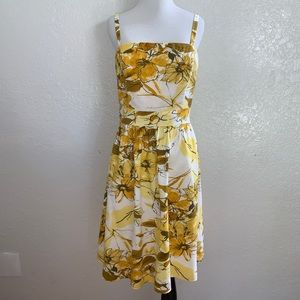 Adrianna Papell Mustard Yellow Floral Dress Sz 14